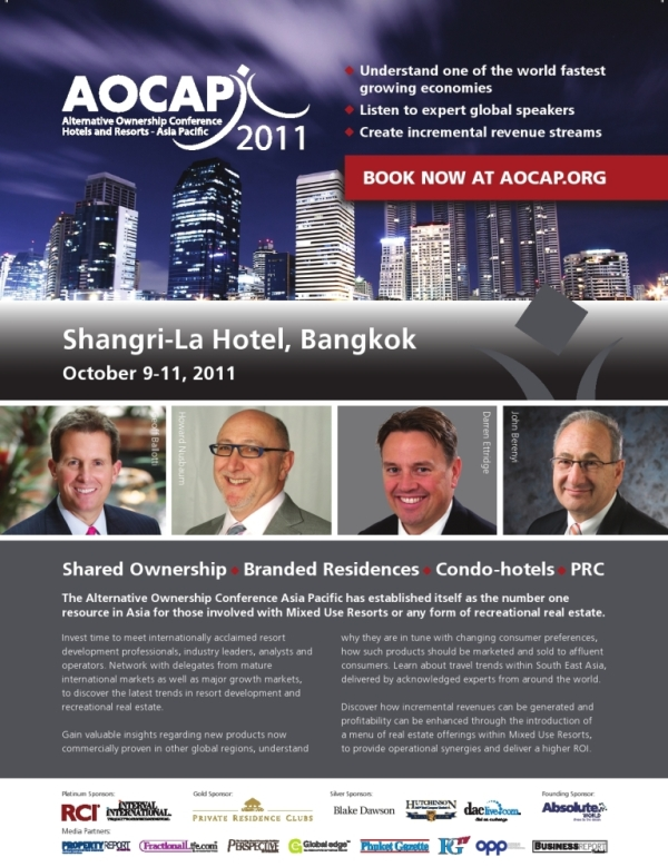 AOCAP is the premier Asia Pacific conference for alternative ownership for hotels and resorts. An unmissable event, which year on year delivers an abundance of knowledge, insight and understanding of the alternative ownership industry throughout Asia Pacific.