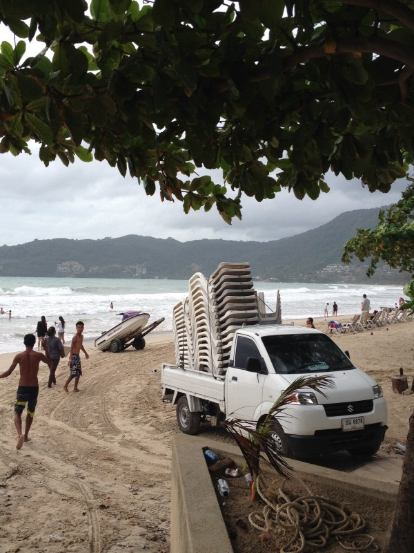 A small truck is loaded with beach chairs. Photo Amy Bensema